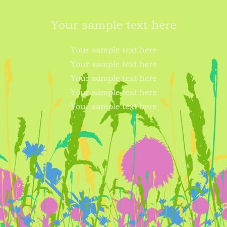 Frame on the seamless meadow flowers and ears background. Vector illustration. Manual trace.  Vector