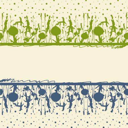 tile able: Telaio sullo sfondo di fiori e le orecchie di prato. Vettoriali