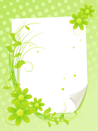 bunch of flowers: White paper sheet with summer flowers. Vector illustration.