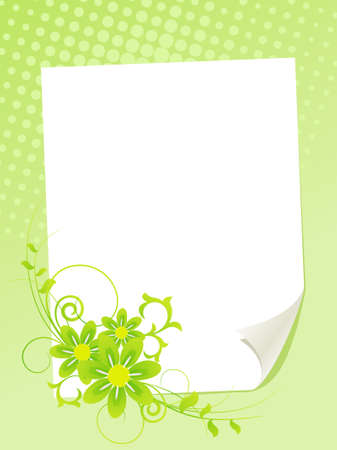 White paper sheet with summer flowers. Vector illustration. Vector