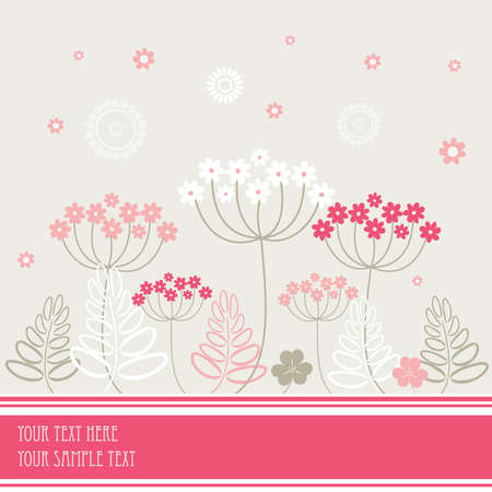 herbary: Garden flowers and herbs background. Vector illustration.