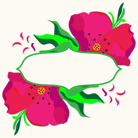 dogrose: Frame with dogrose flowers composition. Vector illustration. Illustration