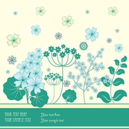 flowerbed: Garden flowers and herbs background.