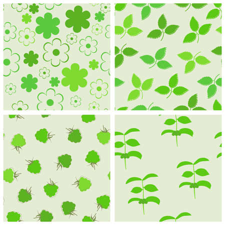 tile able: Green seamless backgrounds set. Vector illustration.