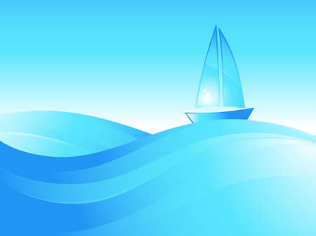 Boat on the sea waves. Vector ilustration.