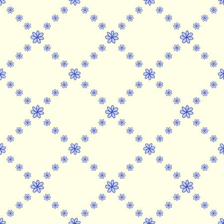 tile able: Symmetrical flowers seamless background. Vector illustration.