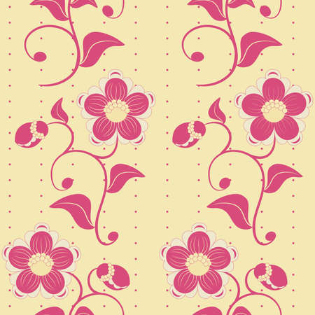 Seamless pink flowers ornate background. Vector illustration. Vector