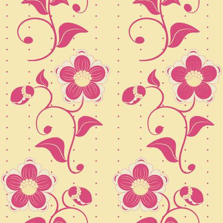twirls: Seamless pink flowers ornate background. Vector illustration.