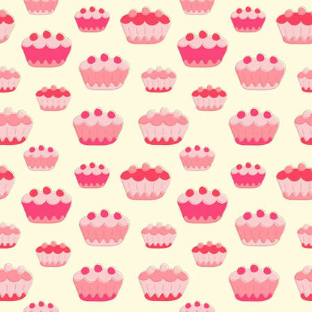 tile able: Sweet cakes seamless background. Vector illustration. Illustration