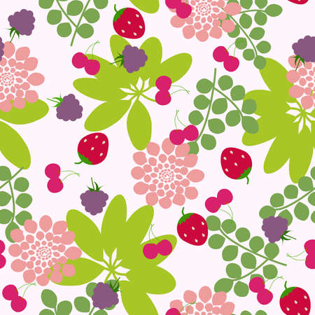 Seamless flowers and berry background. Vector illustration. Stock Vector - 9423900