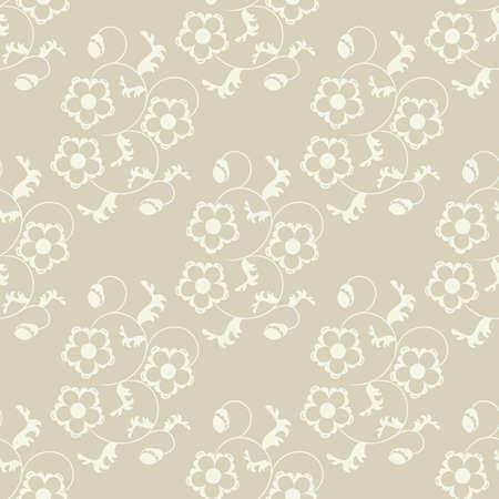 tile able: Seamless beige flowers background. Illustration