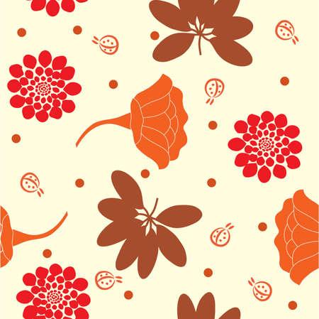 Warm colors garden seamless background.  Vector