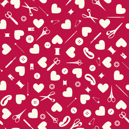Seamless sewing objects and hearts background. Vector