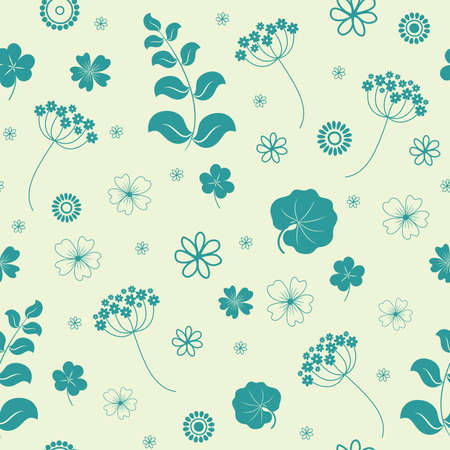 Garden flowers and herbs seamless background.  Vector