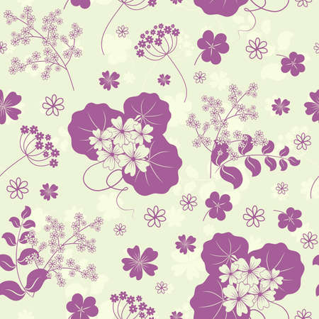 herbary: Garden flowers and herbs seamless background.