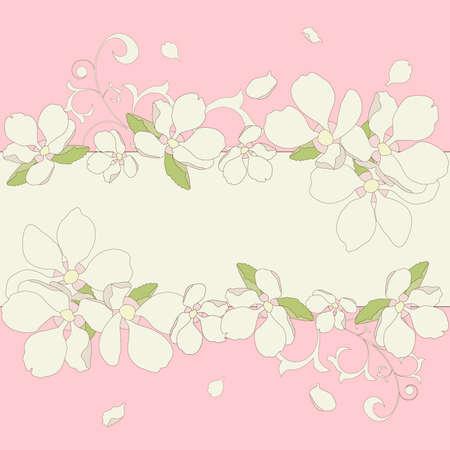 Vector illustration. Apple blossom frame background. Stock Vector - 9322521