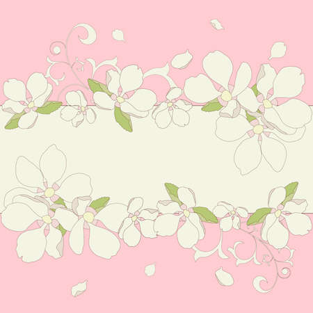 Vector illustration. Apple blossom frame background. Vector