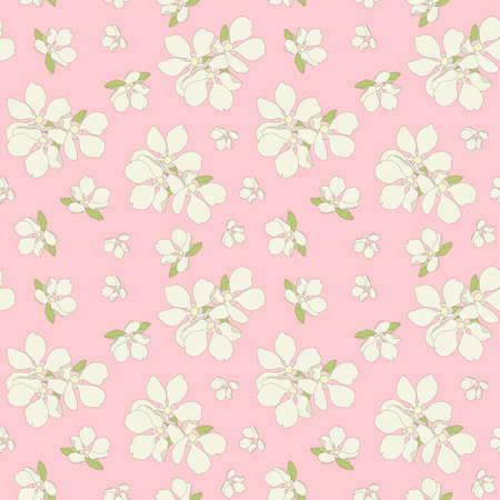 Seamless apple flowers background. Illustration