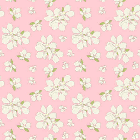 Seamless apple flowers background. Illustration