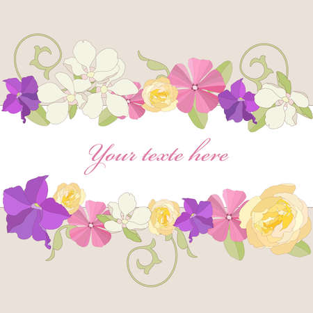 petunia: Garden flowers ornate frame background Illustration