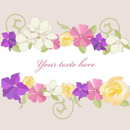 Sfondo di telaio ornato di fiori da giardino
