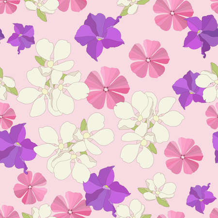 tile able: Seamless garden flowers background. Illustration