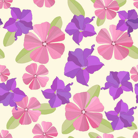 petunia: Seamless garden flowers background. Illustration