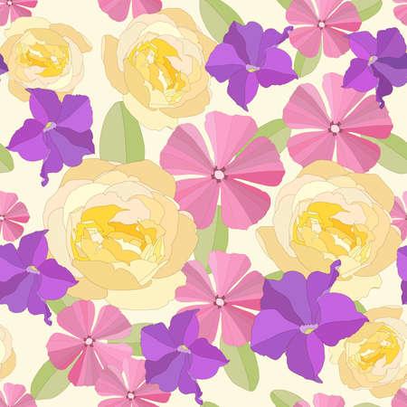 tile able: Sullo sfondo di fiori da giardino senza soluzione di continuit�. Vettoriali