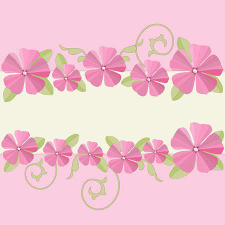 petunia: Pink petunia flowers frame background. Vector illustration.