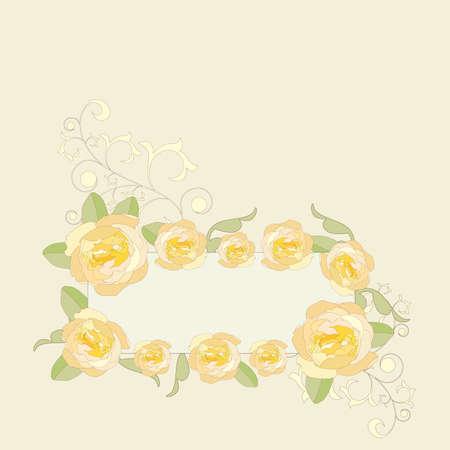 gele rozen: Yellow roses ornate frame background.  Stock Illustratie