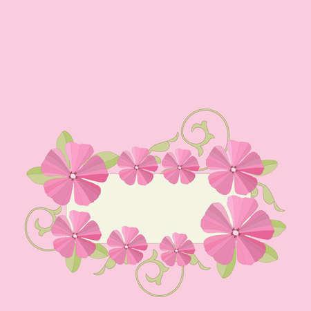 petunia: Pink petunia flowers frame background. Vector illustration.