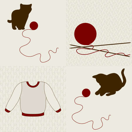 Wool objects, kittens and seamless backgrounds set. Vector illustration.