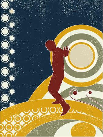 Grunge style silhouette disco man. Vector illustration. Vector