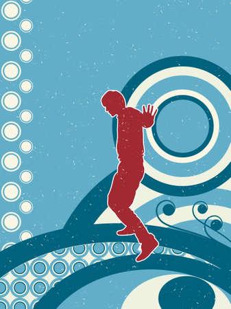 Grunge style silhouette disco man.. Vector illustration.