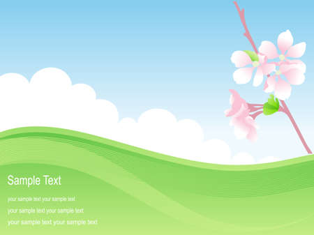 Spring background with apple flowers. Vector illustration. Vector