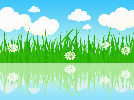 waterside: The beautiful summer meadow waterside - vector illustration.
