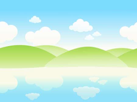 waterside: Simless riverside landscape. Vector illustration. Illustration