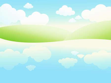 riverside landscape: Summer riverside landscape. Vector illustration.