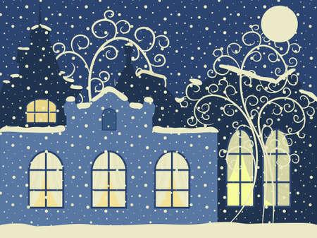 Vector illustration. Retro winter city Vector
