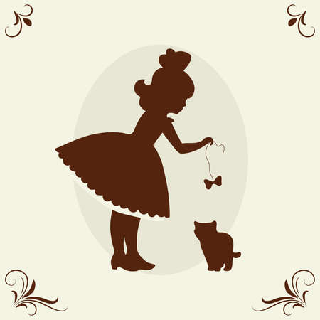 Girl and kitten.  Vector