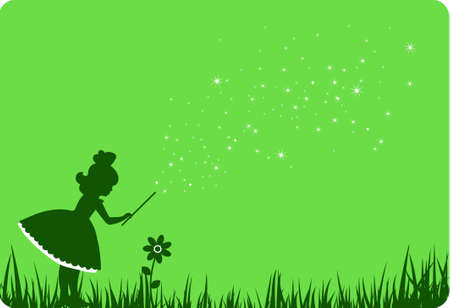 fairy silhouette: Green fairy and flower.