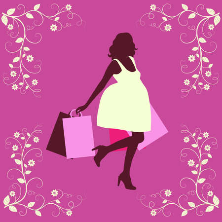 Shopping woman silhouette.  Vector