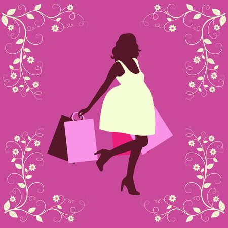 Shopping woman silhouette. Stock Vector - 9404655
