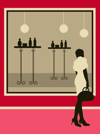 Womans near the showcase.