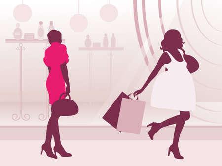 Womans near the showcase. Illustration