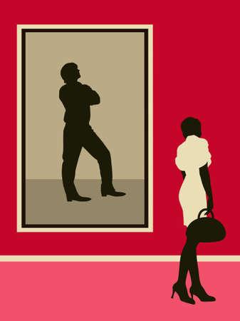 Vrouw dichtbij het mensenportret.