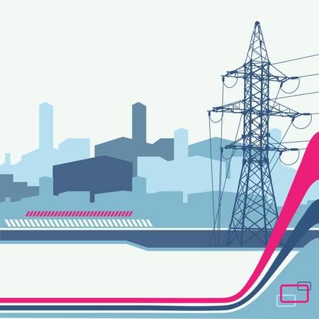 High-voltage tower background. Vector illustration.