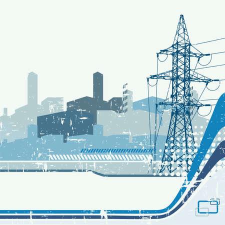 Fondo de torre de alta tensión. Ilustración vectorial.