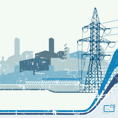 electricity cable:  High-voltage tower background. Vector illustration. Illustration
