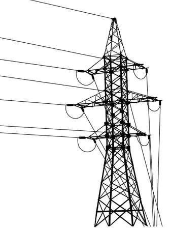 High-voltage tower silhouette. Vector illustration.